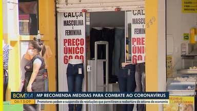 MP recomenda medidas para combater o coronavírus - Promotores querem suspender resoluções que permitam a reabertura de alguns setores.