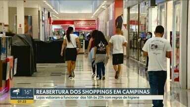 Shoppings de Campinas reabrem em horário reduzido e com novas medidas de higiene - Abertura ocorreu no 77º dia de quarentena contra o avanço da Covid-19, doença que já matou ao menos 107 pessoas e infectou 2.791 moradores.