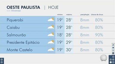 Terça-feira começa chuvosa em Presidente Prudente - Confira a previsão do tempo para o Oeste Paulista.