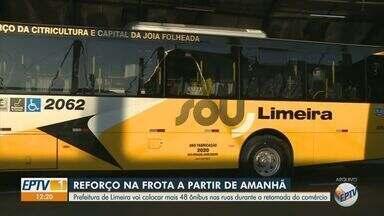 Prefeitura de Limeira reforça frota de ônibus nesta quarta-feira (9) - Mais 48 ônibus irão circular nas ruas durante a retomada do comércio.