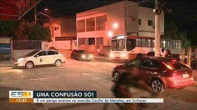 Falta de sinalização está causando perigo na Avenida Cecília de Meireles, em Linhares - Assista ao vídeo.