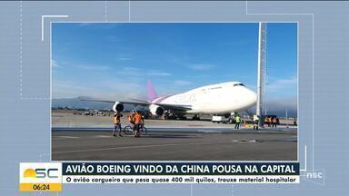 Avião cargueiro de quase 400 mil quilos pousa no aeroporto de Florianópolis - Avião cargueiro de quase 400 mil quilos pousa no aeroporto de Florianópolis