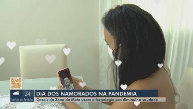 Casais na Zona da Mata usam tecnologia para comemorar o Dia dos Namorados - Pares enfrentam a saudade e se reinventam para celebrar a data respeitando o distanciamento social.