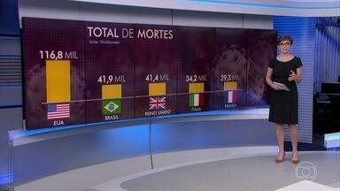 Brasil se torna o segundo país no mundo com mais mortos por Covid-19 - Até agora, são 41.901 vítimas da doença. Acima do Brasil está apenas os Estados Unidos, que tem quase 117 mil mortos.