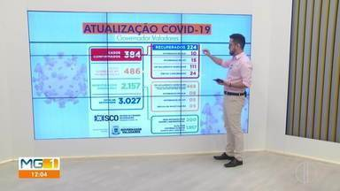 Telão mostra o aumento dos números da Covid-19 em Governador Valadares - Governador Valadares bateu recorde no número de infectados em 24 horas. Foram 33 novos casos, segundo a prefeitura.