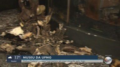 Polícia Federal começa perícia em área atingida pelo fogo no museu da UFMG - Polícia Federal começa perícia em área atingida pelo fogo no museu da UFMG