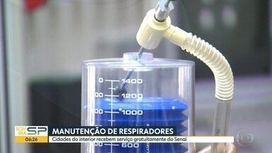 Iniciativa faz reparo de respiradores para cidades do interior - Serviço é feito gratuitamente pelo Senai.