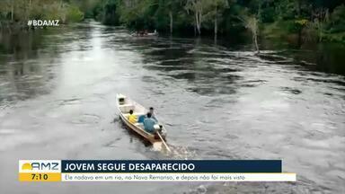 Jovem que caiu em rio segue desaparecido, em Novo Remanso - Corpo de Bombeiros fazem buscas no local.