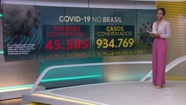 Brasil tem 45.585 mortes por coronavírus, mostra consórcio de veículos de imprensa - Levantamento de consórcio de veículos de imprensa aponta que país tem 934.769 casos confirmados. Na terça, o país teve o 2º maior registro de óbitos em 24 horas desde o início da pandemia.