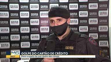 Homem é preso, em Contagem, por suspeita de estelionato - Segundo a Polícia Militar, o preso faz parte de uma quadrilha do estado de São Paulo que usa dados dos cartões de créditos das vítimas.