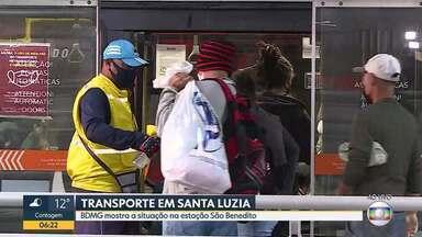 Bom Dia acompanha manhã de segunda-feira na estação São Benedito - Em Santa Luzia, usuários do transporte coletivo reclamam da superlotação e da falta de medidas de segurança durante a pandemia.