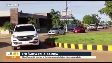 Manifestação em Altamira pede reabertura de atividades não essenciais - Manifestação em Altamira pede reabertura de atividades não essenciais