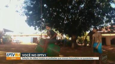 Seleção de vídeos mostra as profissões que viraram brincadeira na quarentena - No distrito de Bonfim Paulista, menina ajuda o pai a consertar a moto.