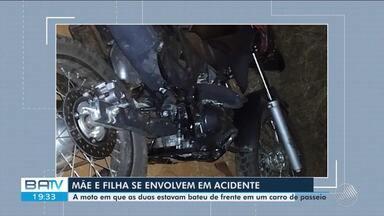 Acidente de trânsito: batida entre uma moto e um carro causa morte de uma mulher na BA-152 - A vítima era mãe da condutora da motocicleta.