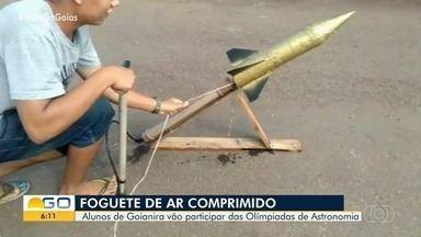 Com foguete de ar comprimido, alunos de Goianira participam de Olimpíada de Astronomia - Foguete foi criado com garrafa de plástico.