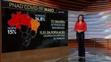 Quase 10 milhões de brasileiros ficaram sem nenhuma renda em maio - Levantamento feito pelo IBGE mostrou também queda de 18% no rendimento.