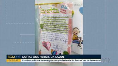 Crianças escrevem cartas para profissionais da saúde - Estudantes fazem homenagem aos profissionais da Santa Casa de Paranavaí.