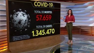 Brasil tem 57,6 mil mortes e 1,3 milhão de casos de Covid, diz consórcio - O Brasil tem 57.659 mortes por coronavírus confirmadas até as 8h desta segunda-feira (29), mostra um levantamento feito pelo consórcio de veículos de imprensa a partir de dados das secretarias estaduais de Saúde.