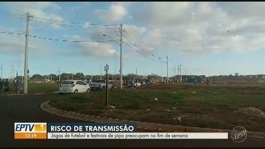 Jogos de futebol e festivais de pipa formam aglomeração no domingo, na região de Campinas - Santa Bárbara d'Oeste e Campinas tiveram pontos de aglomeração que vão contra ao isolamento social para conter o avanço do novo coronavírus.