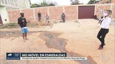 MG Móvel está em Esmeraldas - Moradores esperam por obras de infraestrutura como rede de esgoto e pavimentação, na rua Menino Jesus de Praga, no bairro Santa Cecília.