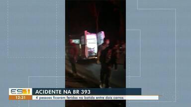 Quatro pessoas ficam feridas em acidente na BR-393, no ES - Veja.