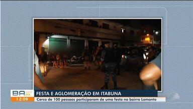 Patrulha do som interdita festa em bar com mais de 100 pessoas em Itabuna, sul da Bahia - O dono do bar e as pessoas que participaram da festa desrespeitaram decretos de isolamento social na cidade.