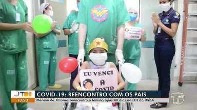 Recuperada da Covid-19, menina de 10 anos deixa UTI após 40 dias internada no HRBA - Núbia dos Santos foi a primeira paciente infantil do Hospital confirmada com a doença. Ela deu entrada no dia 21 de maio e saiu nesta segunda-feira (29), vestida de Mulher-Maravilha.