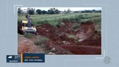 Defesa Civil fala sobre as medidas para tentar resolver Erosão na BR-376 em Ivinhema - Em Mato Grosso do Sul.