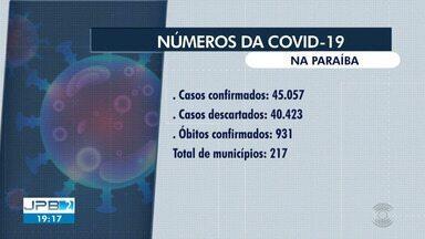 45.057 casos de coronavírus são confirmados na Paraíba - 931 pessoas morreram vítimas da doença no Estado.
