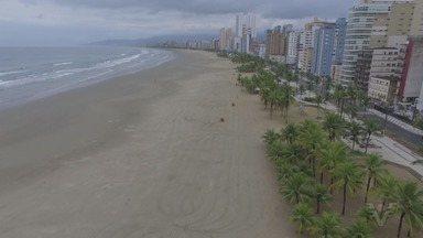 Praia Grande permanece com faixa de areia fechada por mais trinta dias - Objetivo é manter a segurança de moradores evitando aglomerações na praia.