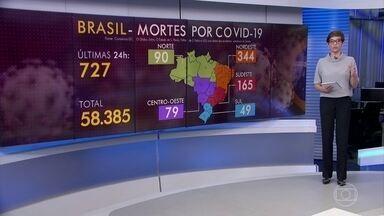 Brasil registra 727 mortes por Covid-19 nesta segunda (29), de acordo com consórcio - A maior parte dos óbitos foi registrada na região Nordeste. O total de mortes por coronavírus no Brasil chega a 58.385.