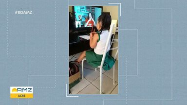 Alunas seguem de forma online no Acre em razão da pandemia - Alunas seguem de forma online no Acre em razão da pandemia