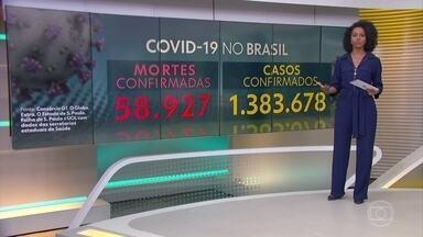 Quase 59 mil brasileiros já morreram de Covid-19, segundo consórcio de imprensa - Total de casos no país se aproxima de um milhão e quatrocentos mil. Dados de 30 de junho, às 13h00.