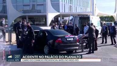 Carro do comboio presidencial bate em meio-fio - O acidente foi em frente ao Palácio do Planalto, na manhã desta quarta (1/07). O para-brisas ficou trincado. Um segurança que estava no banco do passageiro machucou o braço e foi para o Hospital das Forças Armadas.