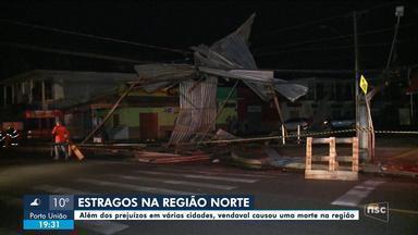 No Norte de SC, vendaval causou morte e prejuízos materiais - No Norte de SC, vendaval causou morte e prejuízos materiais