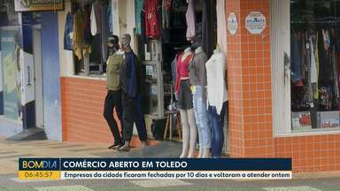 Comércio aberto em Toledo mesmo com decreto do Governo para ficar fechado - A cidade faz parte da lista do Governo do estado que prevê, em decreto o fechamento de atividades não essenciais. Mas ontem a maior parte do comércio da cidade abriu as portas, normalmente.