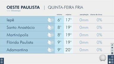 Quinta-feira começa gelada no Oeste Paulista - Confira a previsão do tempo para algumas cidades.
