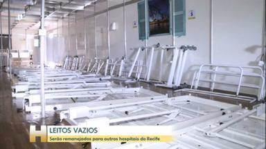Leitos de enfermaria para a Covid-19 começam a ser desmontados no Recife - Enquanto isso, a doença começa a avançar no interior do estado. Os internados serão remanejados para outros hospitais do Recife.