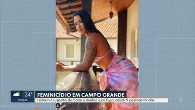 Homem é suspeito de matar a mulher em Campo Grande - A arquiteta Thayane Nunes da Silva foi morta, em Campo Grande, e o principal suspeito do crime é o marido, Gilton Santos. Na fuga, na BR-101, bateu em três carros. Nove pessoas ficaram feridas.