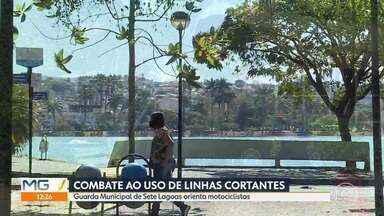 Guarda Civil de Sete Lagoas faz ação contra o uso de linhas cortantes - Motociclistas foram orientados sobre o risco de andar sem a antena de proteção.