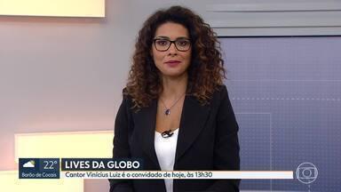Cantor Vinícius Luiz é o convidado desta 6ª Cultural - Artista participa de bate-papo com a jornalista Renata do Carmo hoje, às 13h30, no instagram da Globo em Minas.