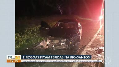 Acidente entre três carros deixa oito feridos na BR-101, em Angra dos Reis - Segundo a PRF, acidente aconteceu próximo ao bairro Monsuaba.