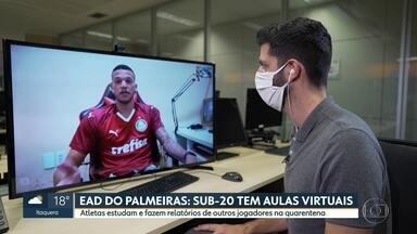 Sub-20 do Palmeiras tem aulas e até provas virtuais na quarentena - Sub-20 do Palmeiras tem aulas e até provas virtuais na quarentena