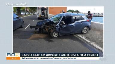 Carro bate em árvore e motorista fica ferido na Avenida Contorno, em Salvador - Acidente aconteceu no final da manhã desta segunda-feira (13).