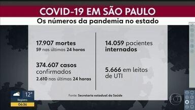 São Paulo tem 17.907 mortes por Covid-19 - Dados, que foram divulgados pela Secretaria Estadual de Saúde na última segunda-feira, também mostram que o número de casos confirmados chegou a 374.607. São 14.059 pacientes internados, sendo que mais de cinco mil estão em leitos de UTI.