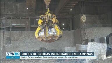 Polícia Federal incinera meia tonelada de drogas apreendidas em operações em Campinas - Além dos entorpecentes, também foram destruídos cigarros e anabolizantes ilícitos.