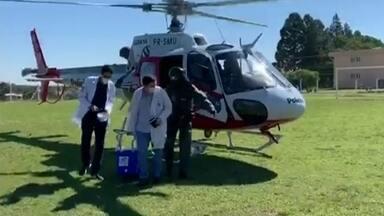 Helicóptero Águia leva coração de Bauru para ser transplantado em paciente de Botucatu - Órgão foi captado no Hospital de Base e viagem até o HC durou 30 minutos. Pandemia derrubou doação de órgãos e este foi o primeiro transporte do tipo feito este ano pela PM de Bauru.