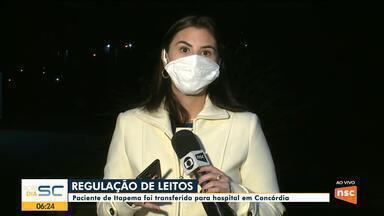 Paciente de Itapema foi transferida para hospital em Concórdia - Paciente de Itapema foi transferida para hospital em Concórdia