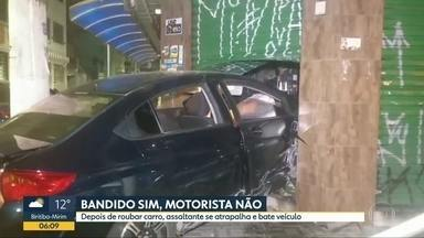 Bandido rouba carro automático e veículo entra em lanchonete de Santo André - Ladrão se atrapalhou com câmbio e provocou acidente