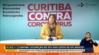 Ocupação de leitos em Curitiba chega a 95% em UTI adulto - Segundo boletim mais recente há 13 leitos de UTI SUS livres para tratar adultos com Covid-19.